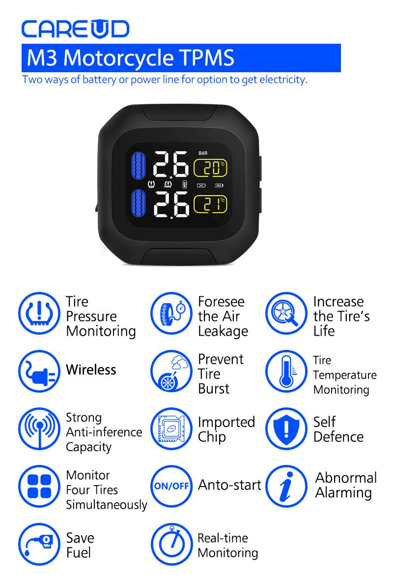 Motorcycle Tire Pressure Monitoring System Super Waterproof Sun Protection Tpms System M3 TPMS