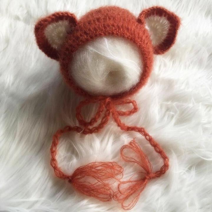 Mohair Newborn Fox Hat and Romper Set Newborn Animal Overalls Newborn Girl  Onesie Handmade Knit Newborn Photo Prop Mohair Bonnet-in Clothing Sets from  ... dd7ddde533c9