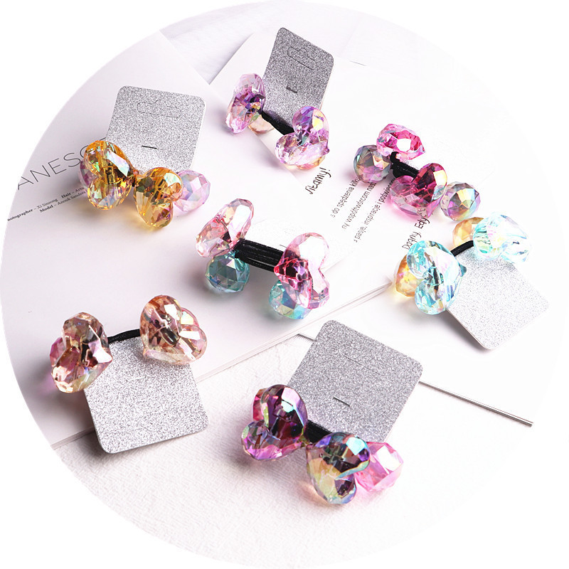 2PCS New Cute Colourful Heart Type Princess Headwear Kids Elastic Hair Bands Children Ropes Girls Accessories Baby Headdress
