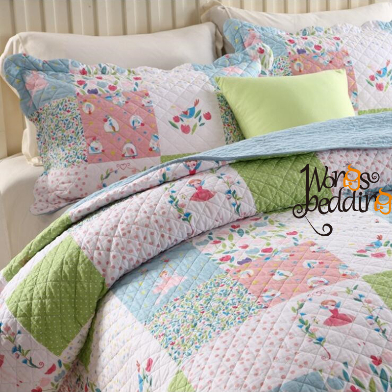 100% algodón estilo pastoral Colchas patchwork/Plaid colcha 3 unids ...
