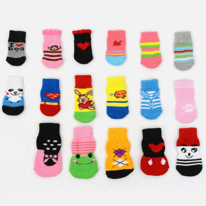 4Pcs Pets Dogs Socks Small Cat Puppy Dog Knits Socks Warm Anti Slip Skid Bottom Shoes Random Color