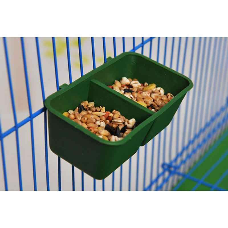 New 2 in 1 Plastic Parrot Bird Feeder Bowl of Water Drinking Device Dual Feeding Cup Pigeons Rectangular Trough Parrot Cup