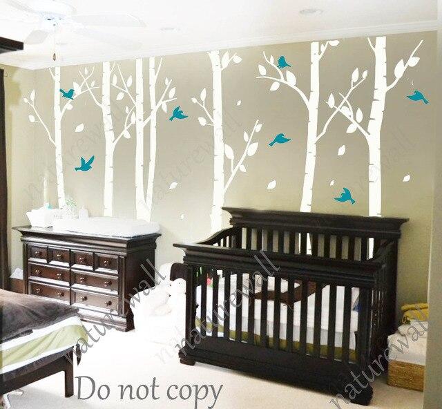 White Birch Tree Wall Stickers Nursery Decals Kids Babyroom Decor Art
