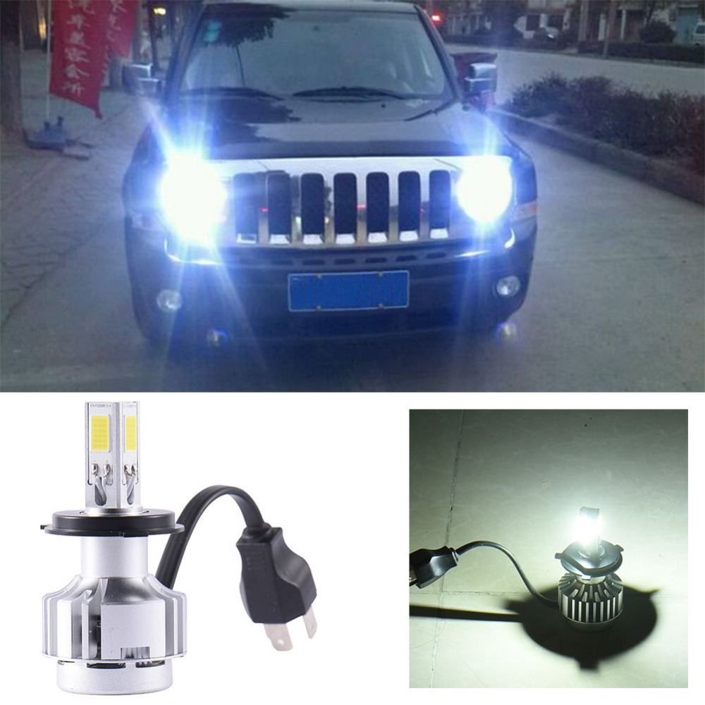 1 Pair Plug&Play H4 LED Car Headlight Bulb Hi-Lo Beam COB Led Head lights 72W 6600LM White 6000K Auto Led Headlamp 12v 24v  1 pair dc 9 36v h4 cob 80w led car headlight kit hi lo beam bulbs 6000k