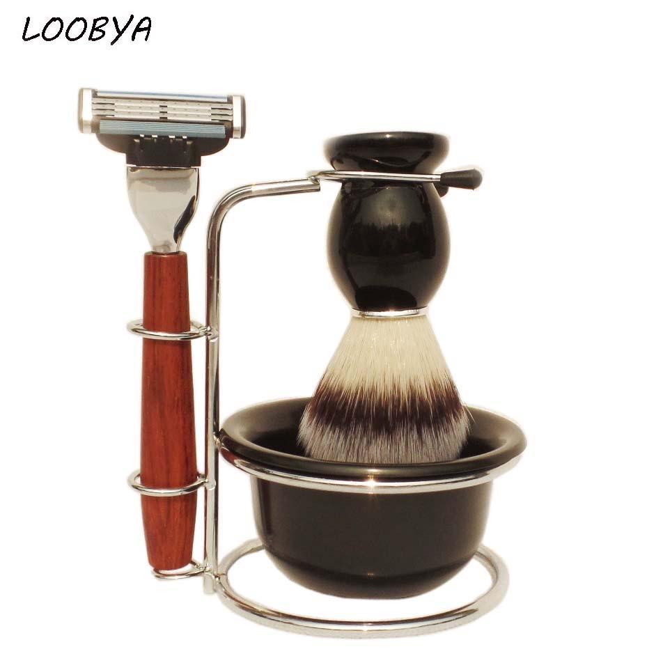4pc Set Wood Handle Synthetic Shaving Brush Safety Razor