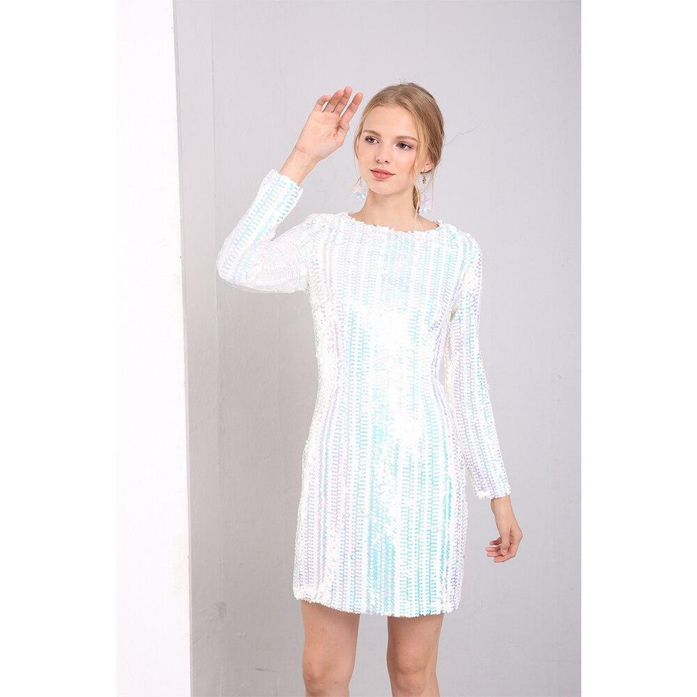 23b9656d475 Élégante Manches Teger Femmes Mini By809 Party Robes D hiver Robe Du dessus  Longues Blanc Deive ...