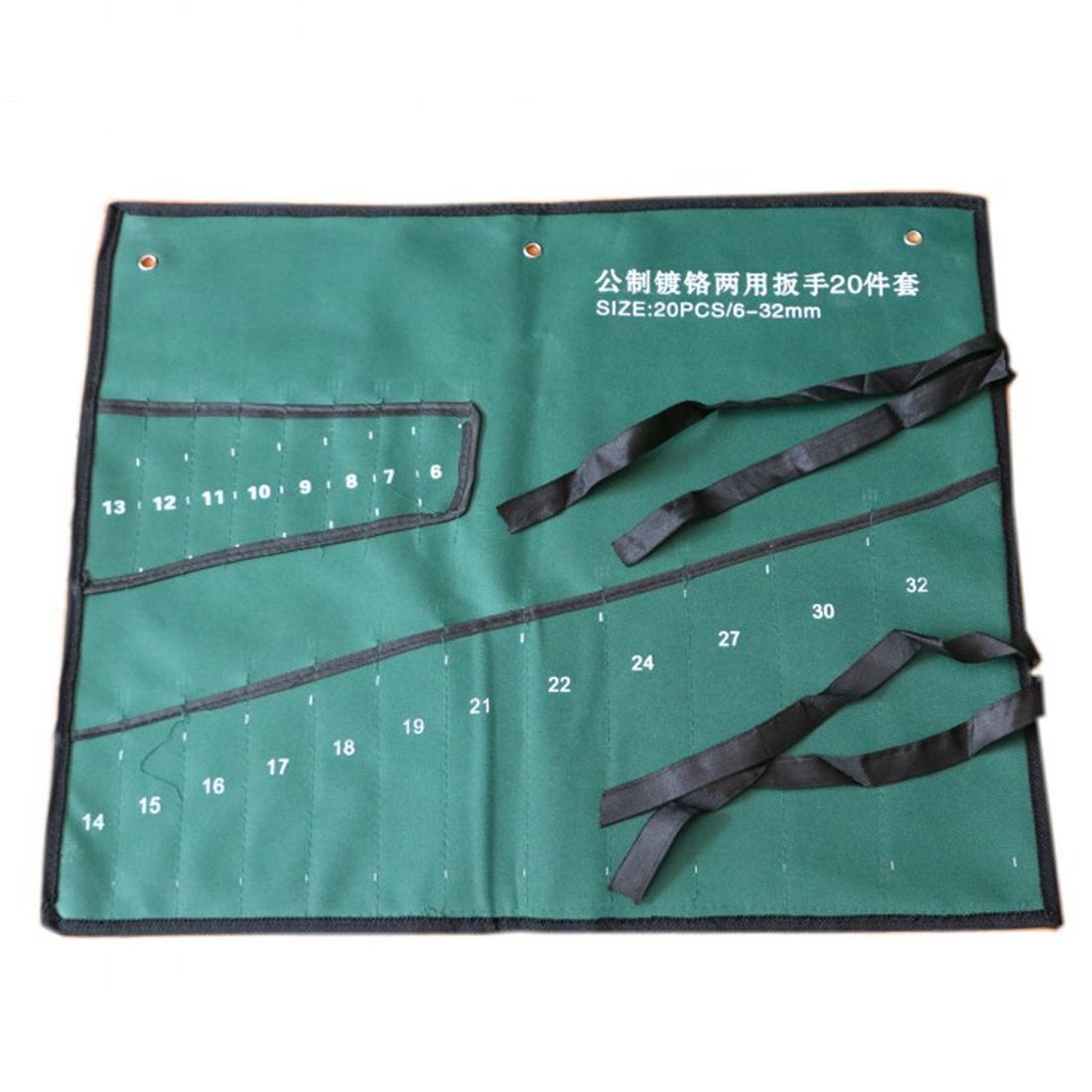 Bundled Canvas Tool Bag Pockets Double Opening Offset Ring Spanner Kit Case Tool Bag Spanner Wrench Roll Up Storage Bag