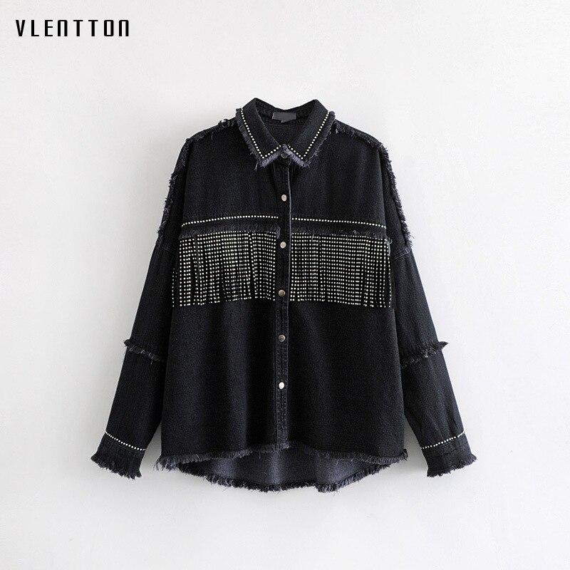 Image 2 - High Quality Spring Black Loose Denim Jacket Women Rivet Tassel Jean Jacket Coat Long Sleeve Streetwear Feminine Coat Outerwear-in Jackets from Women's Clothing