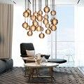 Bola de vidro de cristal moderna led bola de cristal lustre da sala de jantar sala de luz da escada do sotão diy chuva de meteoros lustre luminária