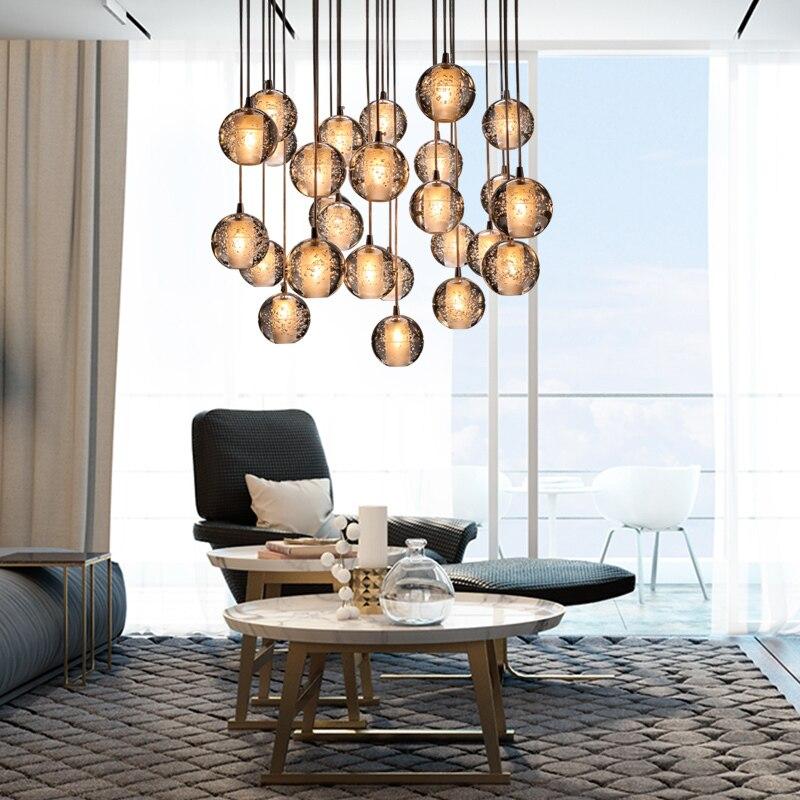 Crystal Glass Ball Modern LED Chandelier Crystal Ball Dining Room Hall Loft Stair Light DIY Meteor Shower Lustre Pendant Lamp