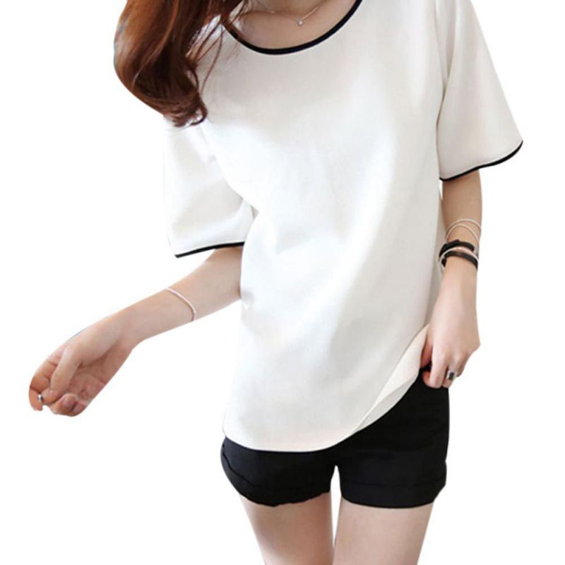 Women T-Shirts Tops Short Sleeve Female Solid-Neck Casual Ladies Plain Newest-Tee