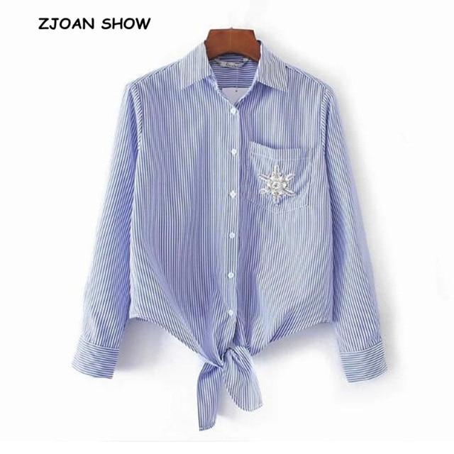 0d3ff569b7bd Casual Bow Tie Hem Beading Diamonds Flower Striped Shirt Woman Lapel Single  pocket Blouse Tops blusas chemise femme 2018 Women
