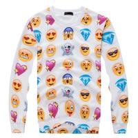 2017 Nuevas Mujeres/Hombres Jerseys Divertido interesante emoji sudaderas 3d Sudaderas blusa superior Tamaño S-xxl