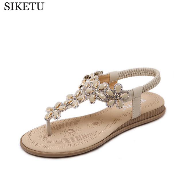 f8785c1b65b SIKETU Crystal Flowers Gladiator Sandals Summer Flip Flops Casual Shoes  Woman Slip On Flats Rhinestone Women