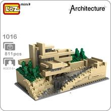 LOZ Architecture 1016 Fallingwater Pennsylvania 3D Model DIY Mini Blocks Bricks Diamond Nano World Famous Building Toy Gift