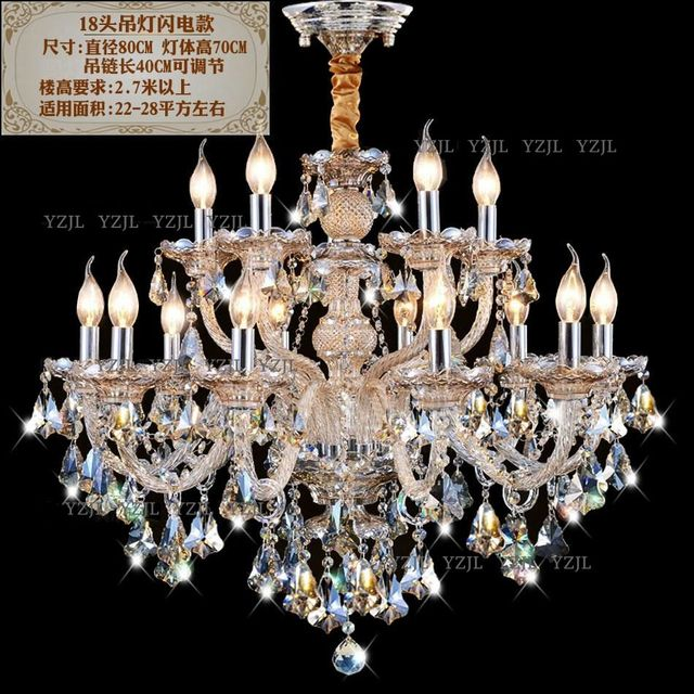 Candle lighting crystal chandelier living room restaurant Cognac Villa duplex double Chandelier crystal chandelier lights