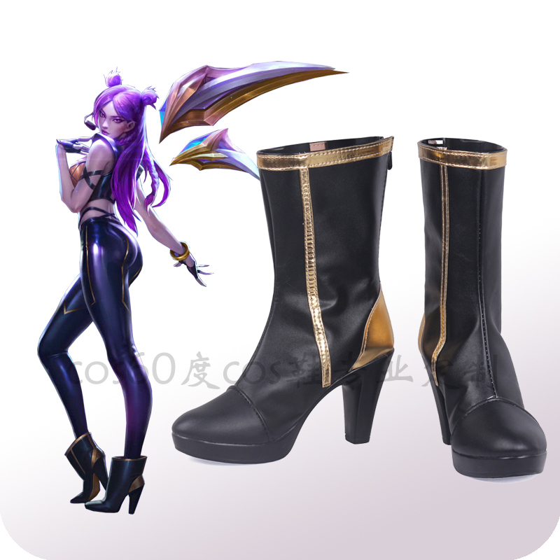 Game LOL K/DA Kaisa Cosplay Shoes LOL KDA Cosplay Boots High-Heeled Shoes for Women PU Leather Cosplay Accessories Custom Made