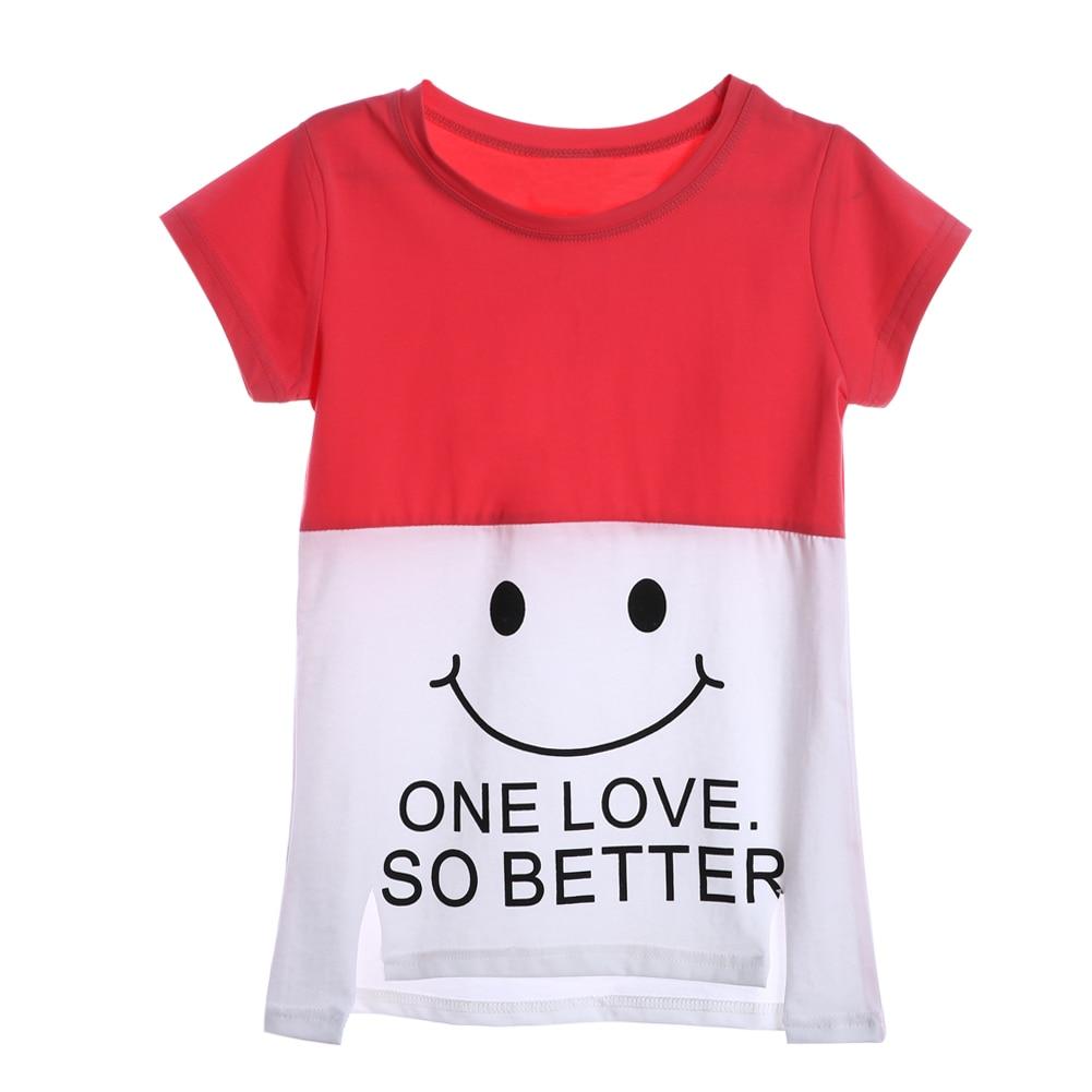 Cute Smile Face Print Girls T-shirt 2017 Newest Short Sleeve Casual tshirt kids Girl Tops High Quality Children Clothing Summer