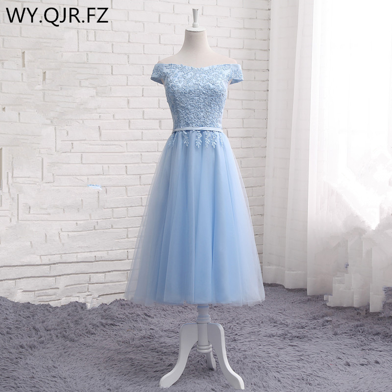 1c4e67123a2e Online Shop JFN95 Blue Short Boat Neck Lace up Medium style Bridesmaid  Dresses 2018 summer wholesale customize wedding party prom dress