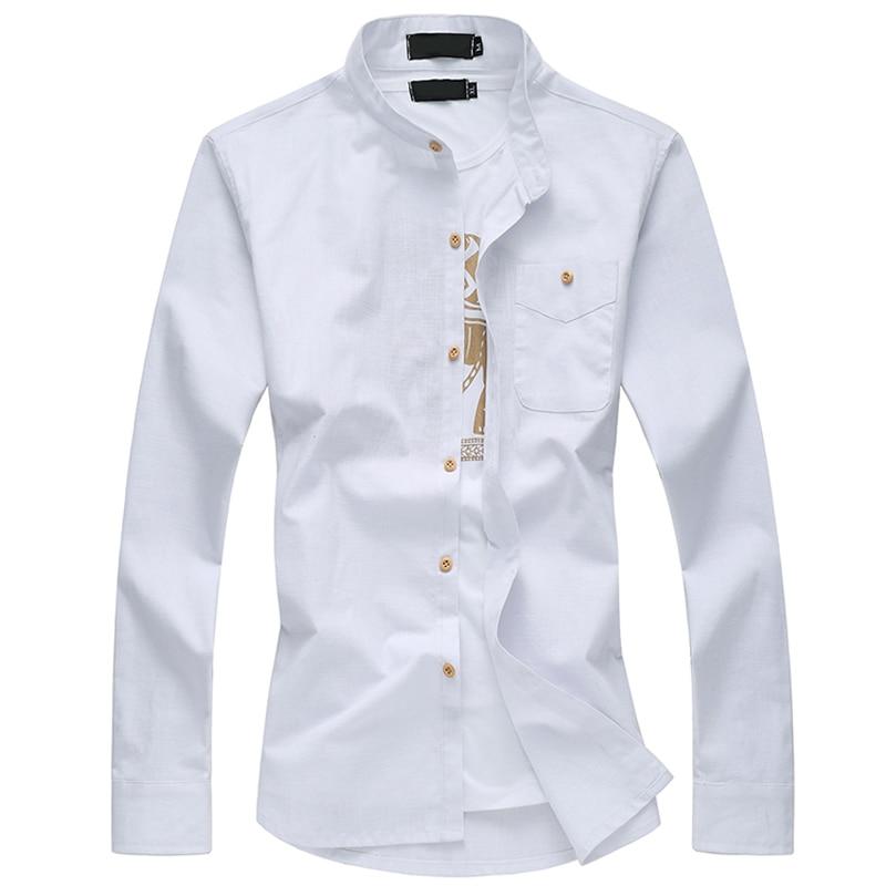 2017 новое прибытие сезона моды случайные большой размер мандарин воротник хлопок мужская с длинными рукавами рубашки М-6XL