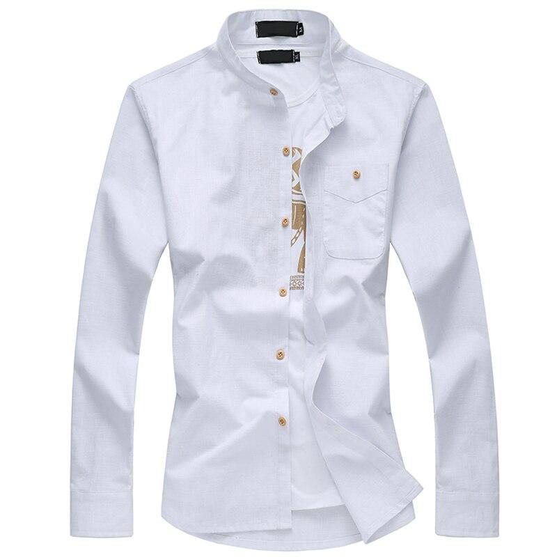2017 년 신작 abervel 시즌 캐주얼 대형 사이즈 만다린 칼라 면화 남성 긴팔 셔츠 M - 6XL