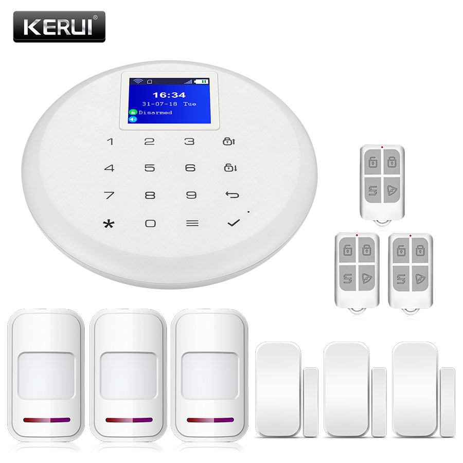 KERUI 1.7-inch TFT Color Screen G17 Android IOS APP Control Home Security Alarm System Sets New Touch Keyboard GSM WiFi Alarm
