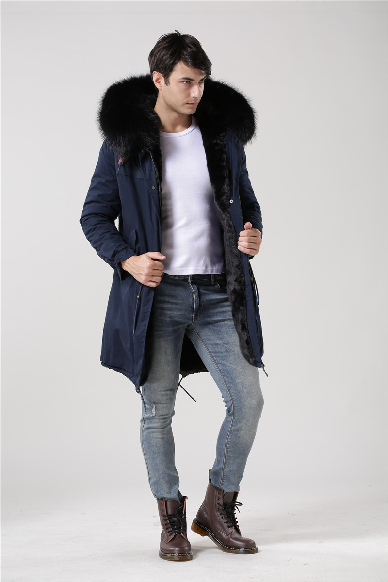 Gentleman style winter long jacket mr furs coats dark blue shell black inside real raccoon fur hooded parka