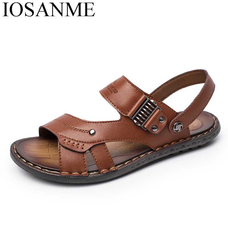 summer beach slide sandals for men 2018 italian classics air beathable leather sandals men shoes luxury brand male shoes adult