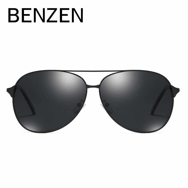 be97500e6eeb9 ... BENZEN Polarized Sunglasses Men Vintage Pilot Male Sun Glasses Classic  Pilot Driving Glasses Black With Case ...