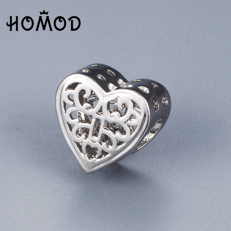 Humor Spinner Hollow Heart Charms Beads Fit Pandora Charm Bracelet For Women Diy Original Silver Jewelry Beads