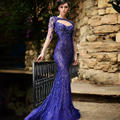 High Couture 2015 Fast Delivery Crop Top Dress To Evening Party Gown Gala Jurken Fishtail Beaded Sexy Long Sleeve Prom Dresses