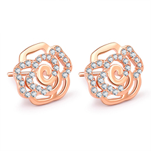 Flower Zircon Stud Earrings For Women Fit Brand Earring Engagement Wedding Fine Jewelry Brinco