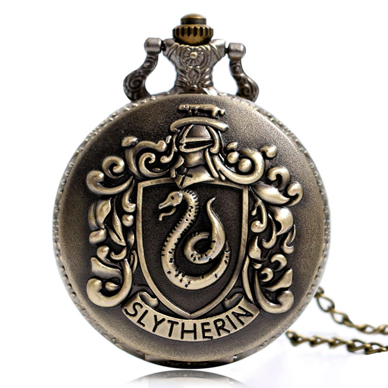 Retro Harry Hogwarts College Slytherin Quartz Pocket Watch Analog Pendant Necklace Mens Womens Watches Chain Gift