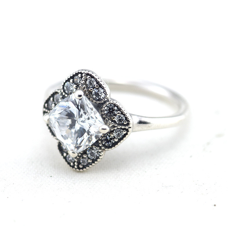 Crystalized Floral Fancy Ring with Clear CZ Real 925