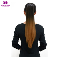 Neverland 20″ 50cm 1B#/27# Ombre Straight Claw On Ponytails Synthetic Heat Resistant Pony Tail Hair Extensions Tress False Hair