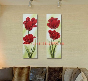 Hand Painted Modern Oil Painting On Canvas Landscape Wall Paintings For Living Room Decor Wall Pictures Red Flowers Texture Art