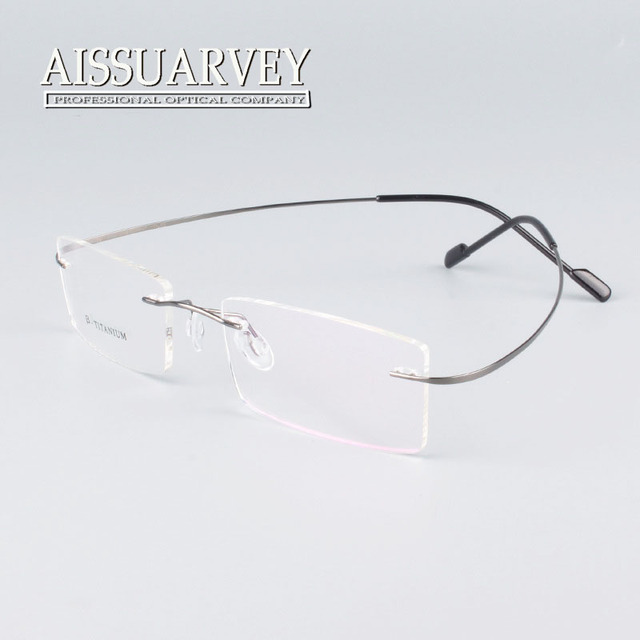 67982fe523 Rimless titanium glasses frame men women fashion brand designer eyeglasses  prescription glasses online clear lenses light