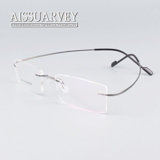 Sem aro titanium óculos de armação das mulheres dos homens marca de moda designer de óculos de grau óculos de lentes claras online luz nova