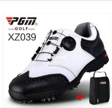 цена на PGM Golf Sneakers Genuine leather Breathable Waterproof Golf Shoes Men Movable soft spike golf shoes with laces rotating device