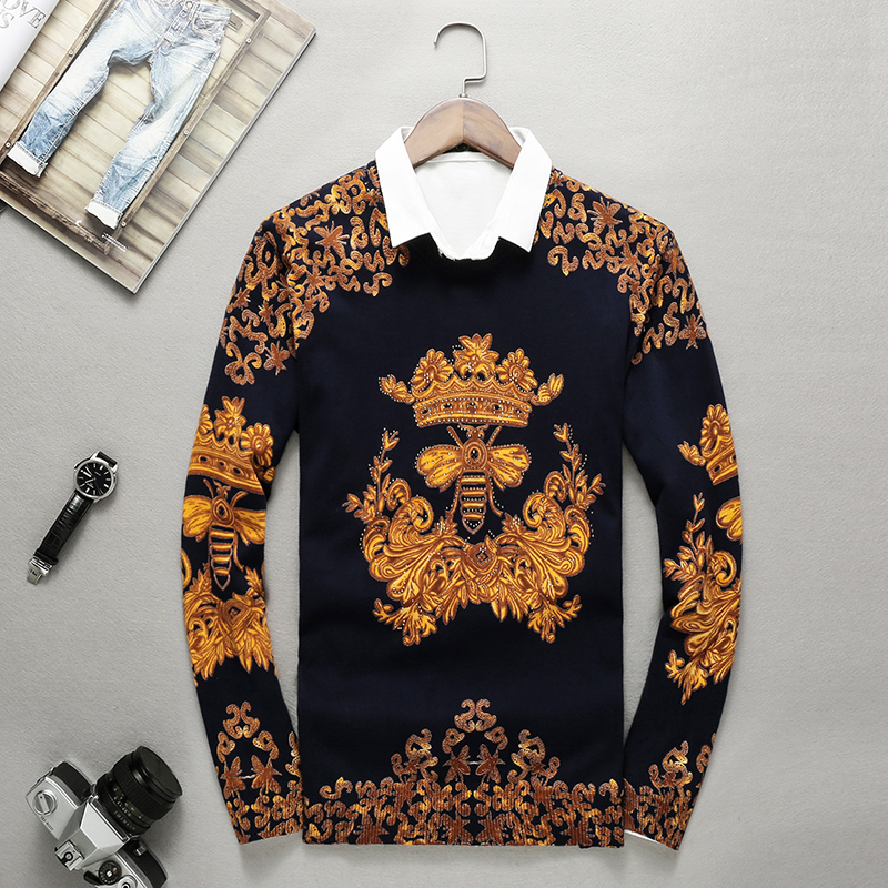 European-style Exquisite Bee Pattern Print Rhinestone Knit Sweater Autumn 2018 Quality Modal Soft Comfortable Sweater Men M-XXXL