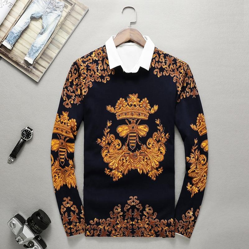 European-style Exquisite Bee Pattern Print Rhinestone Knit Sweater Autumn 2018 Quality Modal Soft Comfortable Sweater Men M-XXXL