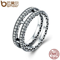 BAMOER Authentic 100 925 Sterling Silver Double Hearts Clear CZ Finger Ring For Women Anel Wedding