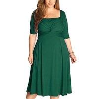 Women Dresses 2017 Fall Fashion Elegant Office Dress Pacthwork Half Sleeve Plus Size Women Clothing Green