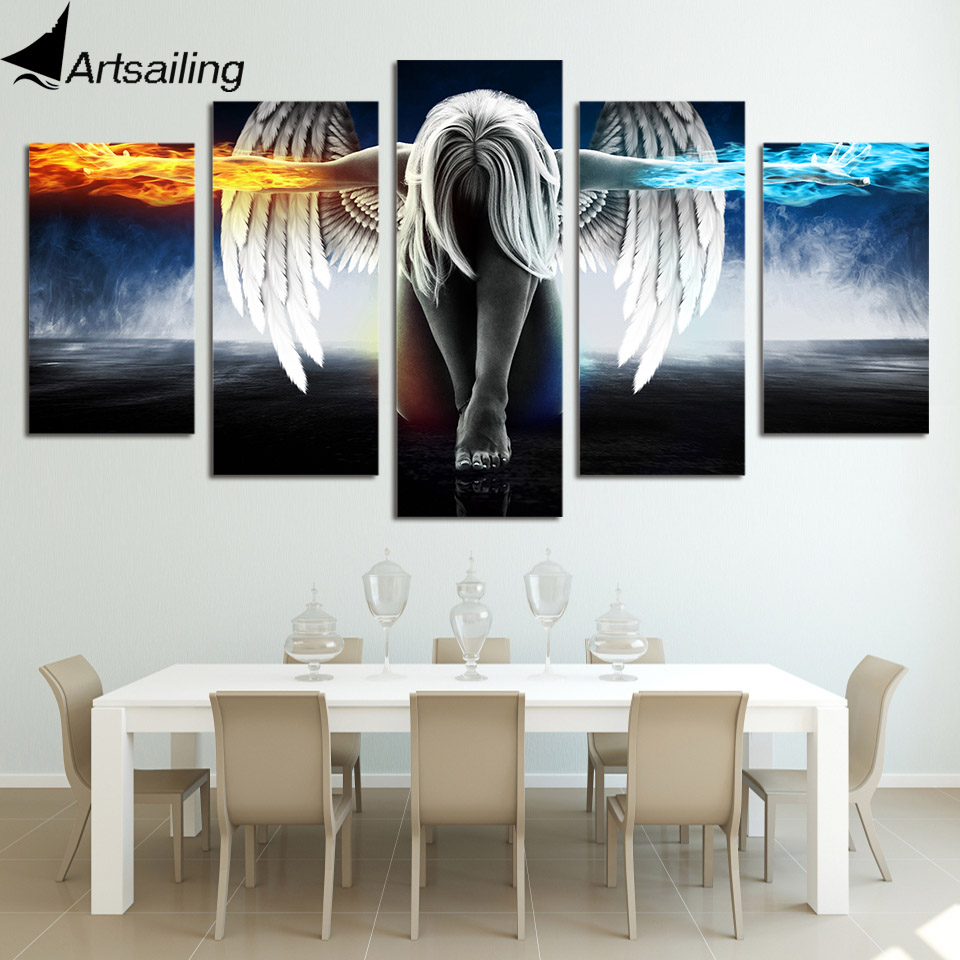5 Piece Printed Angeles Girls Anime Demons Paintings Modular Canvas Print Room Decoration Print Poster Picture Canvas UP-874