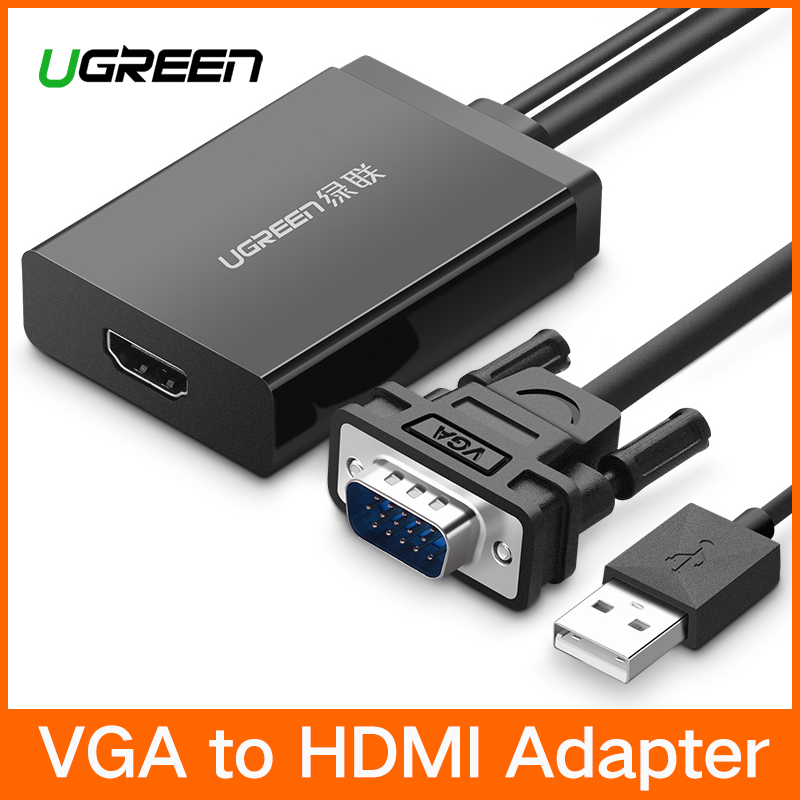 Ugreen VGA zu HDMI Adapter Konverter mit Audio 1080 p VGA HDMI Adapter Kabel Stecker für PC Laptop Notebook zu HDTV Projektor