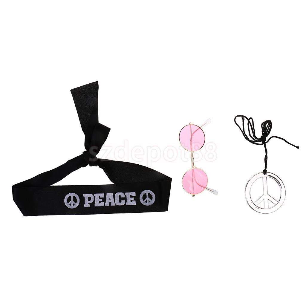 3pcs/set Cool Hippy 60s 70s Headband Sunglasses Peace Necklace Fancy Dress Party Props Costume Accessories