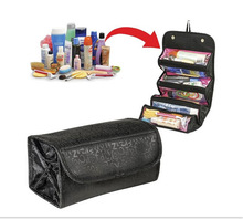 Roll N Go Big Size Travel Use Storage Bag Wash For Makeup And Jewelry Four Layers