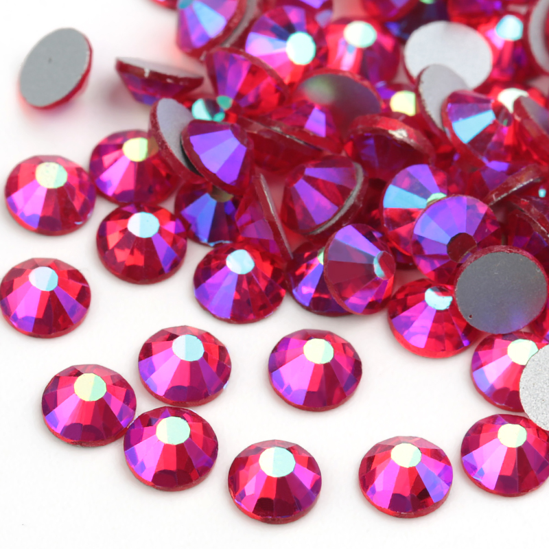SS3-SS20 Light Siam AB Flat back nail deco non hotfix rhinestones for DIY Apparel Decoration Rhinestone glue on stone