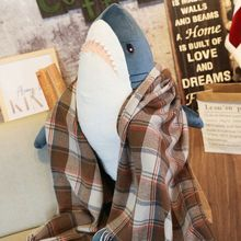 80cm Funny Shark Soft Plush Pillow Toy Cushion Animal Reading for Birthday Gifts