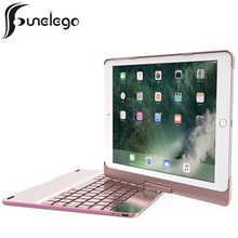 Funelego For IPad Pro 9.7 Keyboard Case F180S 7 Colors LED Breathing Backlight Keyboard with Full Rotatable Cover For New IPad new membrane keyboard for beijer e200 repair new 100